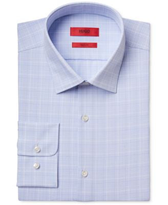 HUGO Men's Slim-Fit Light Blue Check Dress Shirt