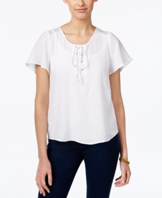 NY Collection Petite Flutter-Sleeve Lace-Up Top