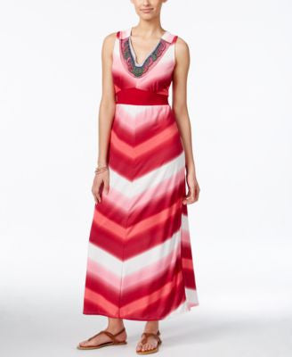 NY Collection Petite Embellished Printed Maxi Dress
