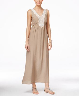 NY Collection Petite Crochet-Detail Maxi Dress