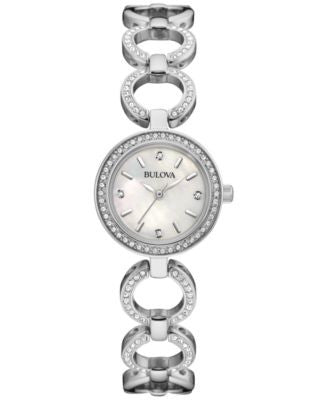 Bulova Women's Crystal Accent Stainless Steel Bangle Bracelet Watch and Necklace Box Set 30mm 96X137