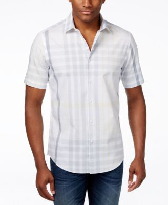 Alfani Men's Plaid Short-Sleeve Shirt, Only at Vogily