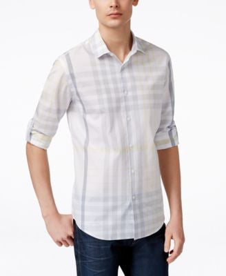 Alfani Men's Plaid Slim-Fit Long-Sleeve Shirt, Only at Vogily