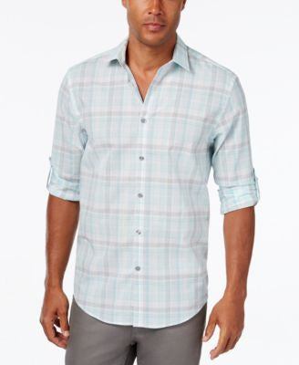 Alfani Men's Big & Tall Classic-Fit Plaid Long-Sleeve Shirt, Only at Vogily