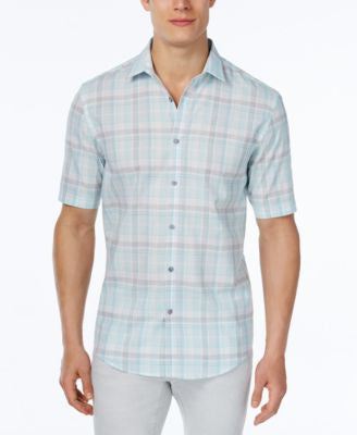 Alfani Men's Big & Tall Classic-Fit Plaid Short-Sleeve Shirt, Only at Vogily