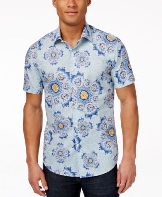 Tallia Men's Floral-Print Medallion Short-Sleeve Shirt