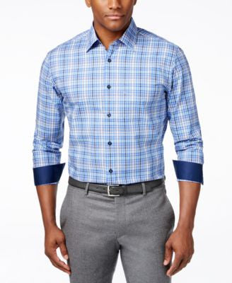 Tasso Elba End-On-End Plaid Long-Sleeve Shirt, Only at Vogily