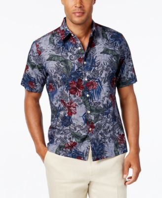 Tasso Elba Men's Linen Paradise Floral-Print Chambray Short-Sleeve Shirt, Classic Fit