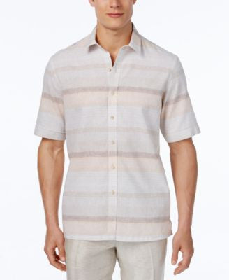 Tasso Elba Men's Linen Sunset Horizontal-Stripe Short-Sleeve Shirt, Classic Fit
