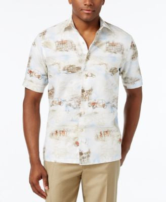 Tasso Elba Men's Linen Monaco Graphic-Print Short-Sleeve Shirt, Only at Vogily