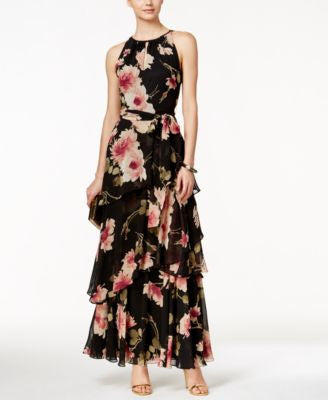 Tahari ASL Tiered Floral-Print Halter Dress