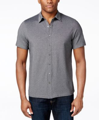 Alfani Big and Tall Piqué Short-Sleeve Shirt, Only at Vogily