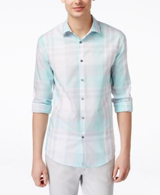 Alfani BLACK Men's Big & Tall Derby Plaid Long-Sleeve Shirt, Only at Vogily