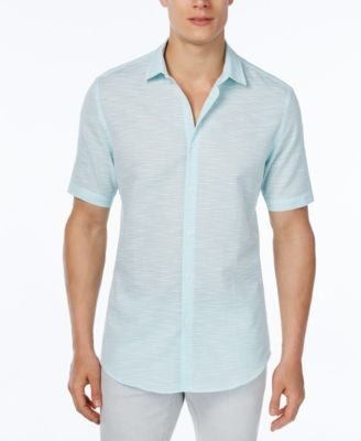 Alfani Men's Big and Tall Slim-Fit Striped Short-Sleeve Shirt, Only at Vogily