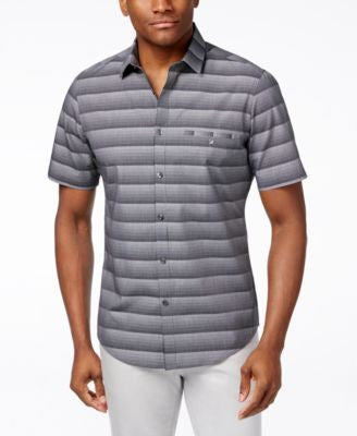 Alfani Men's Big & Tall Bourne Ombré Optic Stripe Short-Sleeve Shirt, Only at Vogily