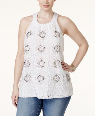 INC International Concepts Plus Size Crochet-Front Halter Top, Only at Vogily
