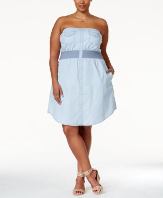 American Rag Trendy Plus Size Strapless Smocked Chambray Dress, Only at Vogily