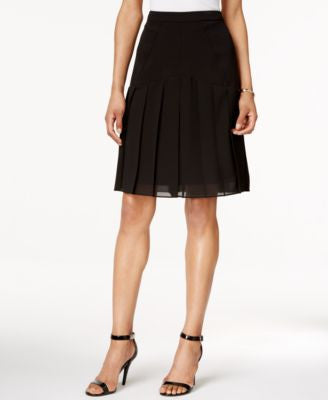 Kasper Crepe A-Line Chiffon Pleated Skirt