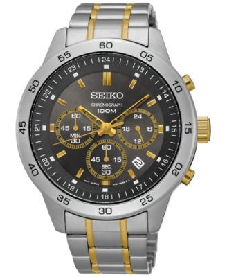 Seiko Men's Chronograph Special Value Two-Tone Stainless Steel Bracelet Watch 44mm SKS525