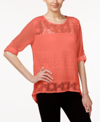 Calvin Klein Mixed-Media Lace Illusion Top