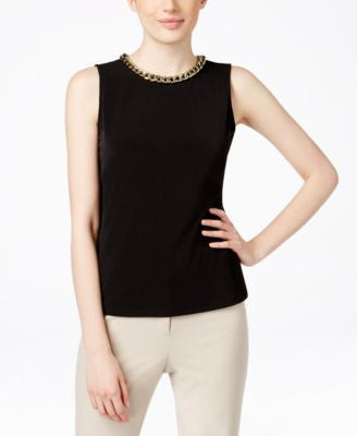 Calvin Klein Sleeveless Chain-Link Blouse