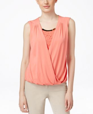 Calvin Klein Sleeveless Embellished Wrap Top