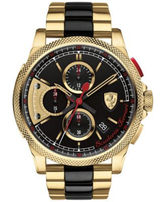 Scuderia Ferrari Men's Chronograph Formula Italia S Gold-Tone and Black Ion-Plated Stainless Steel B