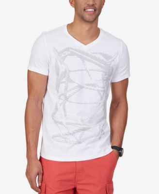 Nautica Men's Knot Graphic-Print V-Neck T-Shirt