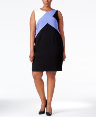 Nine West Plus Size Sleeveless Colorblocked Sheath Dress