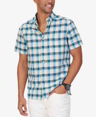 Nautica Men's Star Plaid Linen Blend Short-Sleeve Shirt