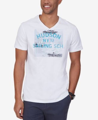 Nautica Men's Hudson Sailing School Graphic-Print V-Neck T-Shirt