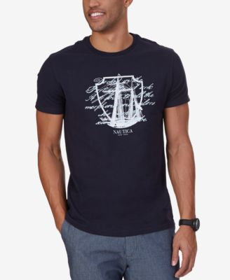 Nautica Men's Big & Tall Ship Script Graphic-Print T-Shirt