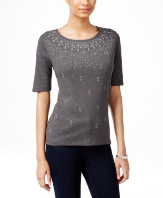 Karen Scott Petite Embellished Elbow-Sleeve Top, Only at Vogily