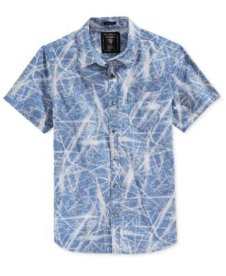 GUESS Men's Slim-Fit Denim Printed Shirt