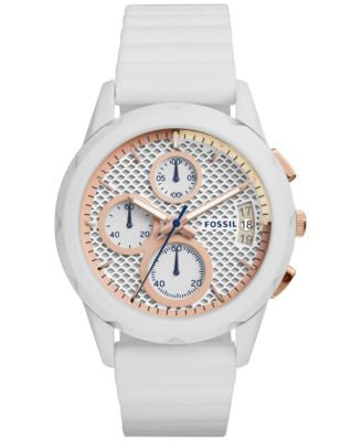 Fossil Women's Chronograph Modern Pursuit White Silicone Strap Watch 39mm ES3981