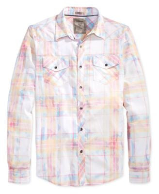 GUESS Men's Kincade Plaid Western Shirt
