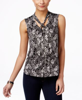 NY Collection Petite Sleeveless Printed Tie-Front Blouse
