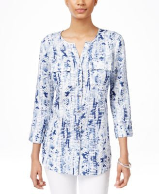 JM Collection Petite Linen Printed Shirt, Only at Vogily