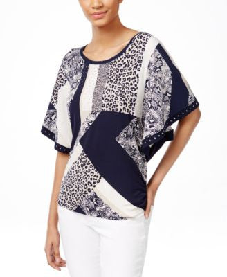 JM Collection Butterfly-Sleeve Printed Top, Only at Vogily