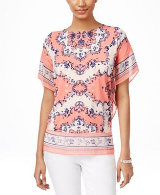 JM Collection Printed Chiffon-Trim Top, Only at Vogily