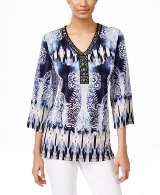 JM Collection Petite Chiffon-Sleeve Embellished Top, Only at Vogily