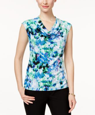 Kasper Petite Printed Cowl-Neck Top