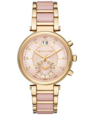 Michael Kors Women's Chronograph Sawyer Gold-Tone Stainless Steel and Blush Acetate Bracelet Watch 3