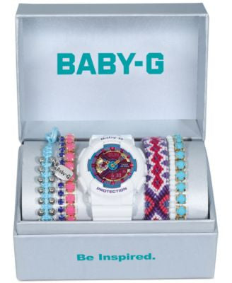 Baby-G Women's White Resin Strap Watch and Bracelets Gift Set 46x43mm BA112-7ABOX - A Vogily Exclusi
