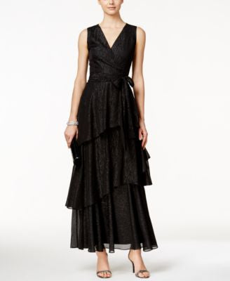 Tahari ASL Sleeveless Tiered Metallic Dress