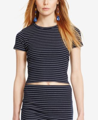 Polo Ralph Lauren Striped Cropped Crew-Neck Shirt