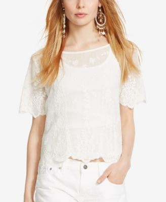 Polo Ralph Lauren Embroidered Tulle Top