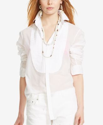 Polo Ralph Lauren Pleated-Bib Voile Shirt