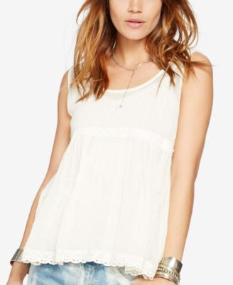 Denim & Supply Ralph Lauren Lace-Trimmed Gauze Tank