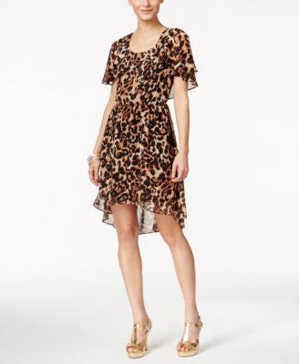 Thalia Sodi Leopard-Print Flutter-Sleeve Dress, Only at Vogily